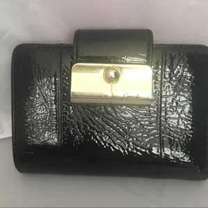 Coach Black Patent Leather Snap Wallet W/Coin Pckt